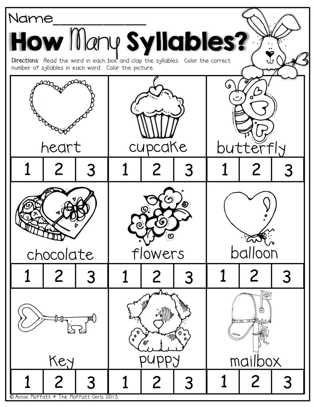 30 Syllables Worksheet For Kindergarten