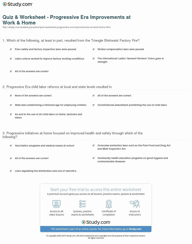 30 The Progressive Era Worksheet
