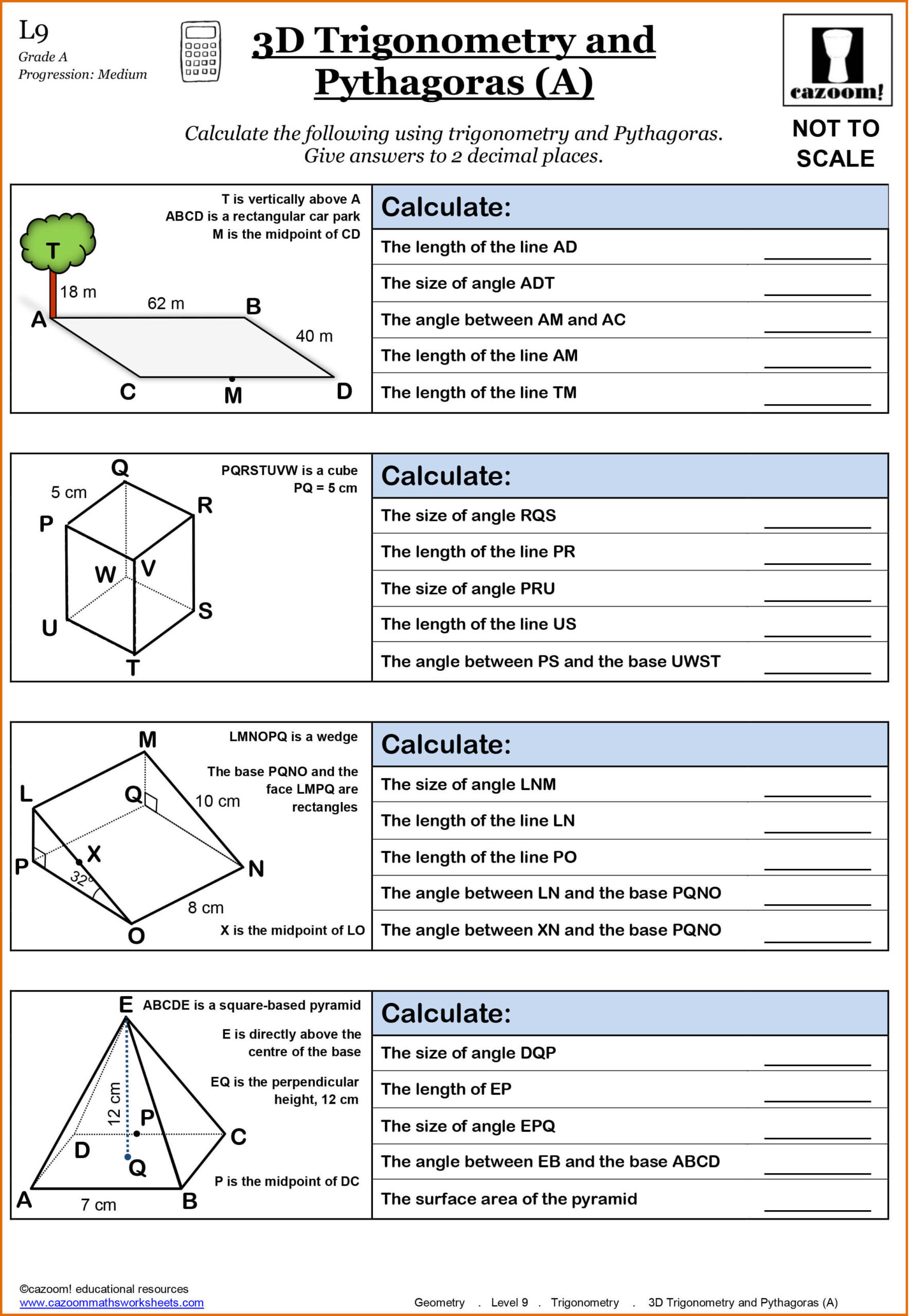 30 Trigonometry Word Problems Worksheet Answers