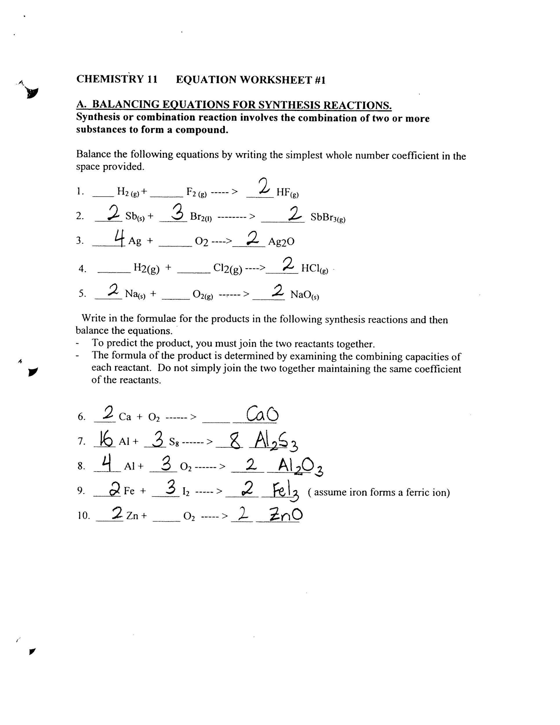 30 Types Of Reactions Worksheet Answers
