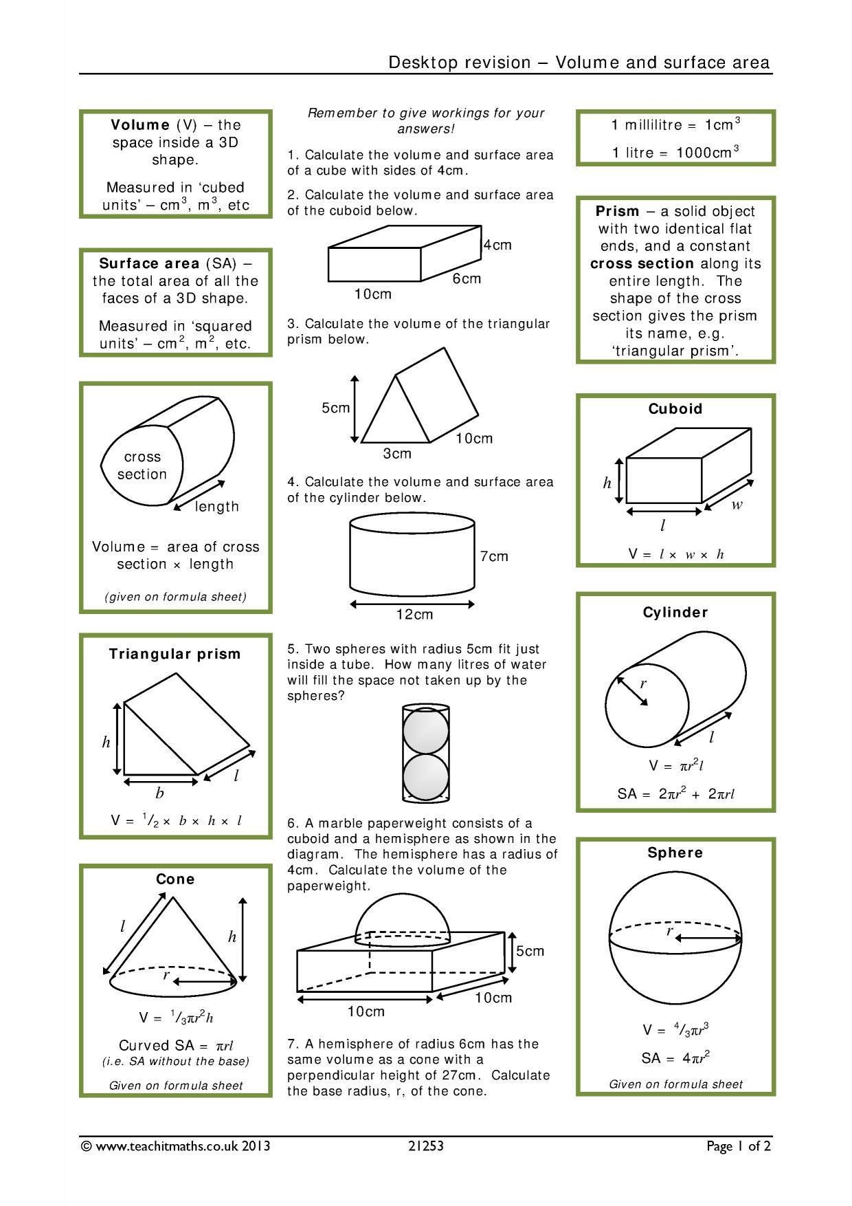 30 Volume Of Cylinders Worksheet