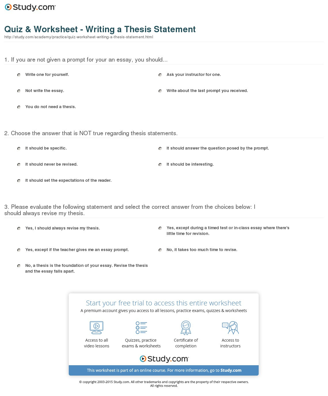 30 Writing A Thesis Statement Worksheet