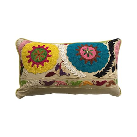 Bold Floral Crewel Embroidery Pillow