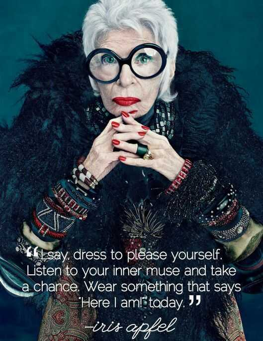 Iris Apfel takes maximalist style to soaring heights. With crazy glasses, jewelry that weighs more than she does, and an overall flee-market-slash-desert-bazaar-chic look, it's easy to acknowledge that the woman is brimming with style inspiration.The 94-year-old has an attitude that is contagious and a style that will stand the test of time. Let's enter the colorful, beautiful, chaotic world of all things Iris Apfel aka the queen of maximalism... eek, we are excited!