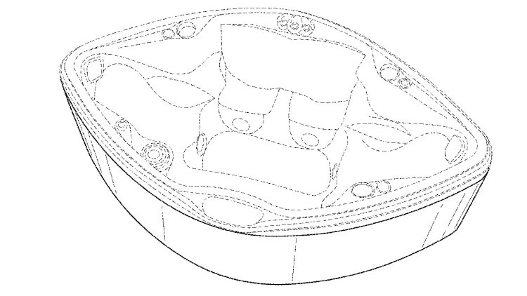 Design Patent D773062 for a football-shaped spa tub