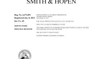 Smith & Hopen federal trademark registration of word mark