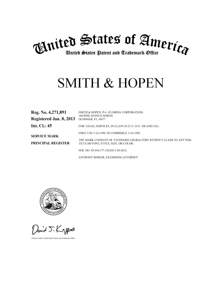 Smith & Hopen federal trademark registration of word mark