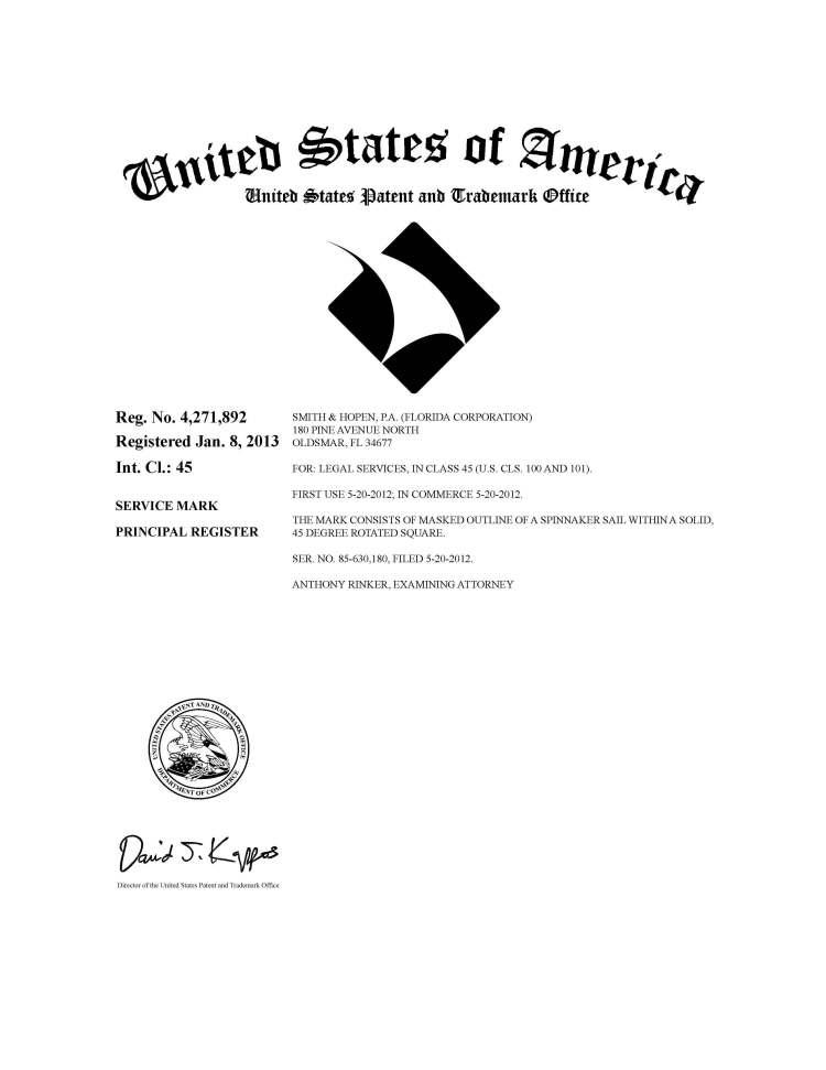 Smith & Hopen federal trademark registration of Logo