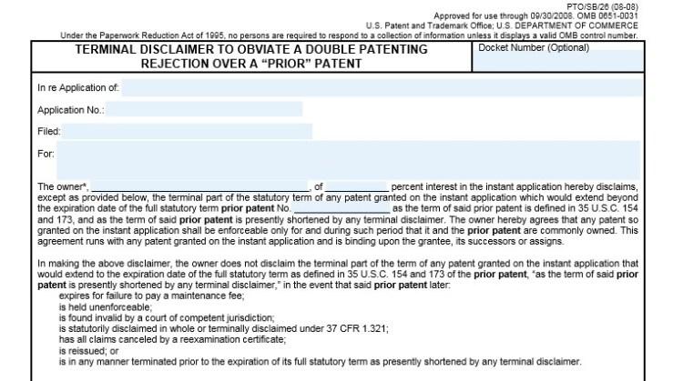 terminal disclaimer form sample