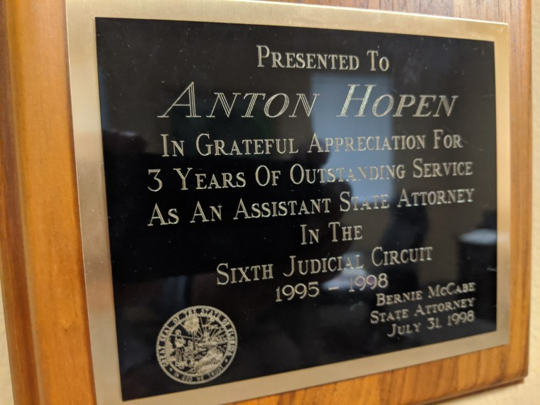 Plaque for service as an assistant state attorney