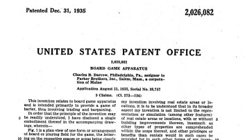 Patent for the Monopoly Board Game