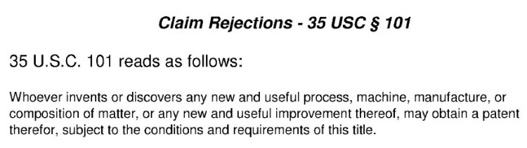 35 USC 101 claim rejection quote from patent office action