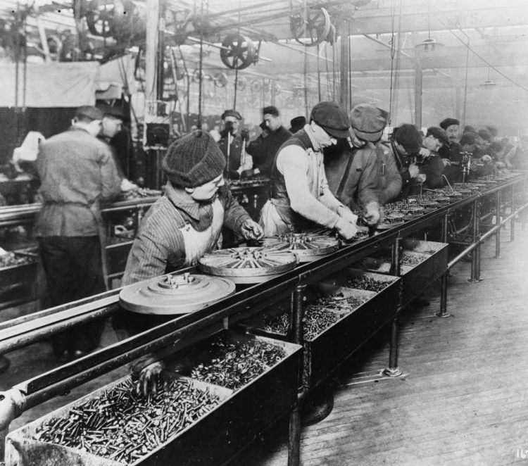 Why do we celebrate labor day?  Ford workers labor in 1913 on an assembly line.