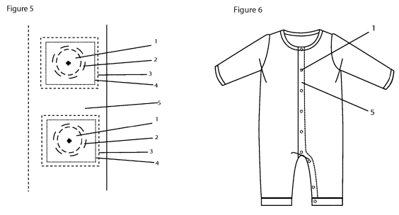 Infant tech patent drawing - onesie