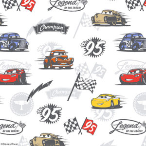close up of disney pixar cars roller blind fabric featuring images of lightening mcqueen with cruz ramirez mater a checkered flag and the number 95 also doc hudson