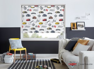 Room shot of Disney Pixar Cars roller blind in a bathroom