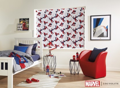 Room setting with spiderman roller blind in kids bedroom