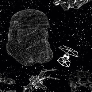close up of star wars battle scene roller blind fabric