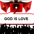 Illustration-people, megaphones, text-God is love