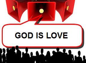 Illustration-people, megaphones, text-God is love