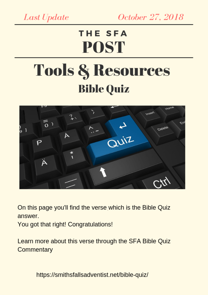 Illustration-The SFA Post - Tools & Resources - Bible Quiz