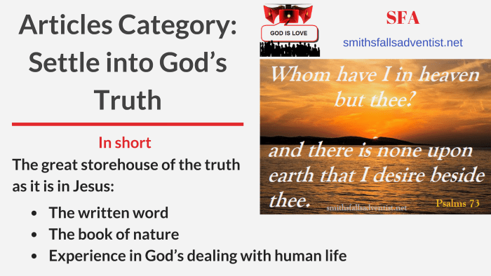 Illustration-Title-Articles Category-Settle into God's Truth-text-logo-sunset-bible verse