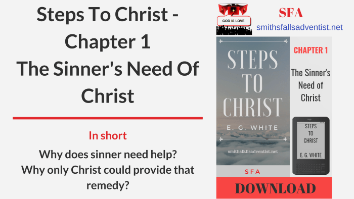 Illustration-Title-Steps To Christ - Chapter 1 - The Sinner's Need Of Christ-text-logo