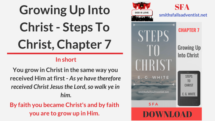 Illustration-Title-Growing Up Into Christ - Steps To Christ, Chapter 7-text-logo