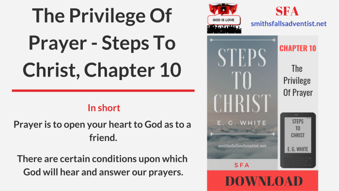 Illustration-Title-The Privilege Of Prayer - Steps To Christ, Chapter 10-text-logo