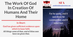 Illustration-Title-The Work Of God In Creation Of Humans And Their Home-logo-text-Bible verse