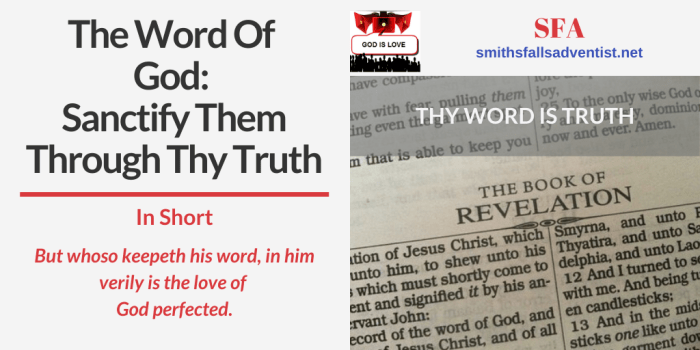 Illustration-The Word Of God - Sanctify Them Through Thy Truth-text-open Bible-verse-logo