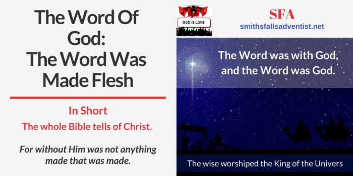 Illustration-The Word Of God - The Word Was Made Flesh-sky-text-logo-Bible verse