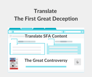 Illustration - Translate The First Great Deception - The Great Controversy - text - background