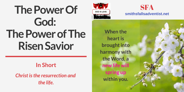 Illustration - Title - The Power of The Risen Savior - text - Bible verse
