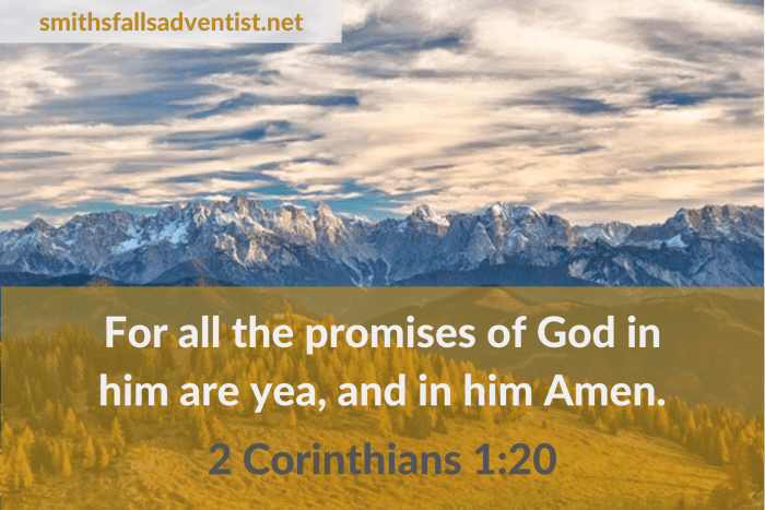 Illustration - Promises of God in 2 Corinthians 1 verse 20 - text - Bible verse - background - mountain