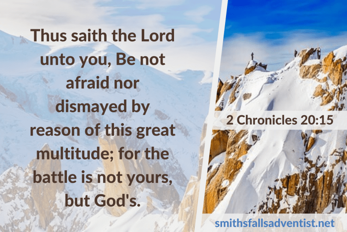 Illustration - Thus saith the Lord in 2 Chronicles 20 verse 15 - text - Bible verse - background - mountain top - winter - snow