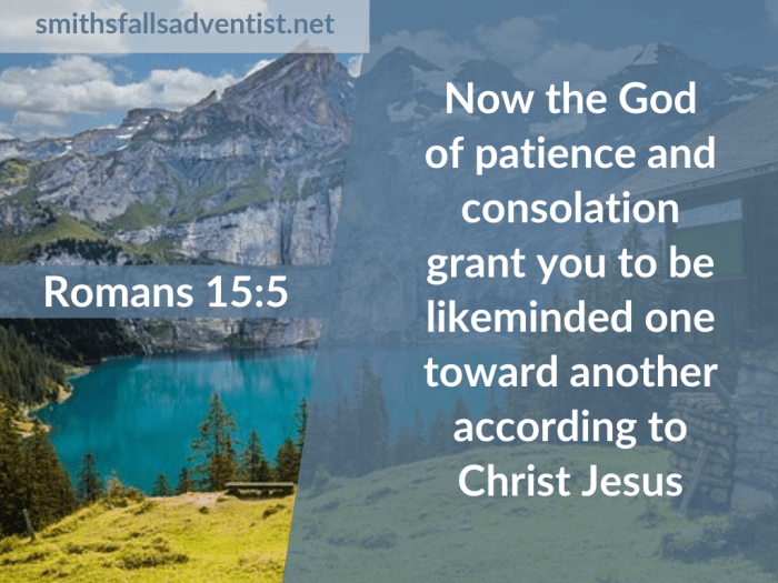 Illustration-background-mountain lake-title-God of patience in Romans 15 verse 5-text-Bible verse