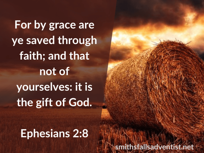 Illustration-landscape-field with a big straw bale-title-Salvation is the gift of God in Ephesians 2 verse 8-text-Bible verse