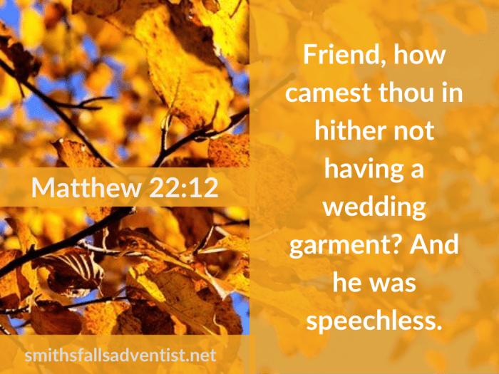 Illustration-background-yellow leaves-title-Wedding garment in Matthew 22 verse 12-text-Bible verse