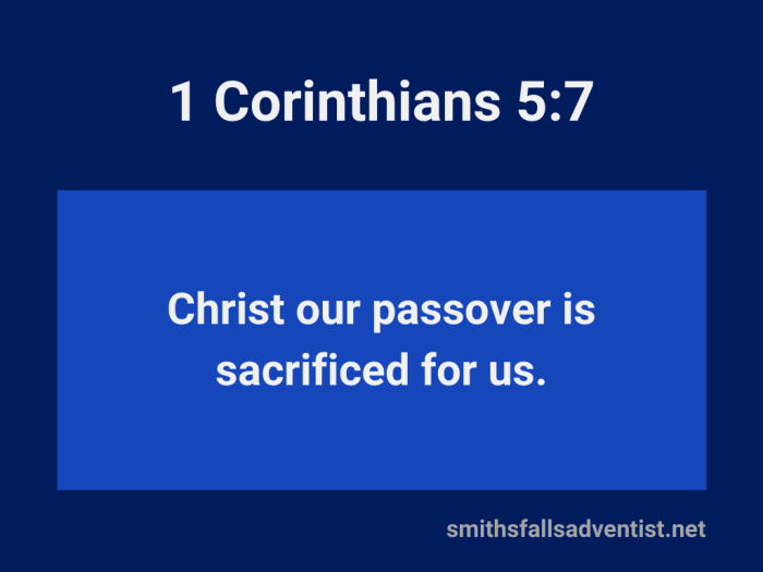 Illustration-dark blue background-title-Christ is sacrificed for us in 1 Corinthians 5 verse 7-text-Bible verse