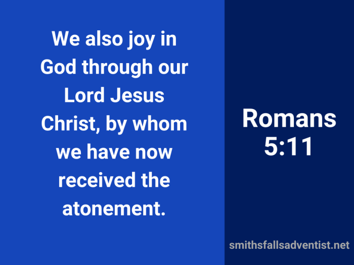 Illustration-blue background-title-We received the atonement in Romans 5 verse 11-text-Bible verse