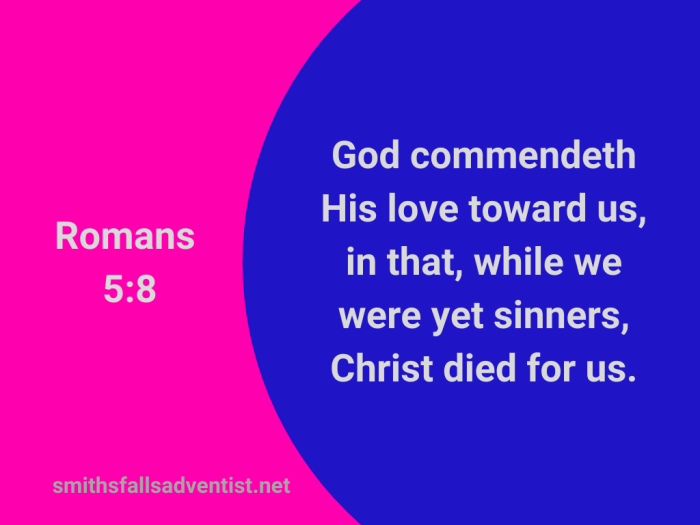 Illustration-background-blue and pink elements-title-While we were yet sinners in Romans 5 verse 8-Bible text