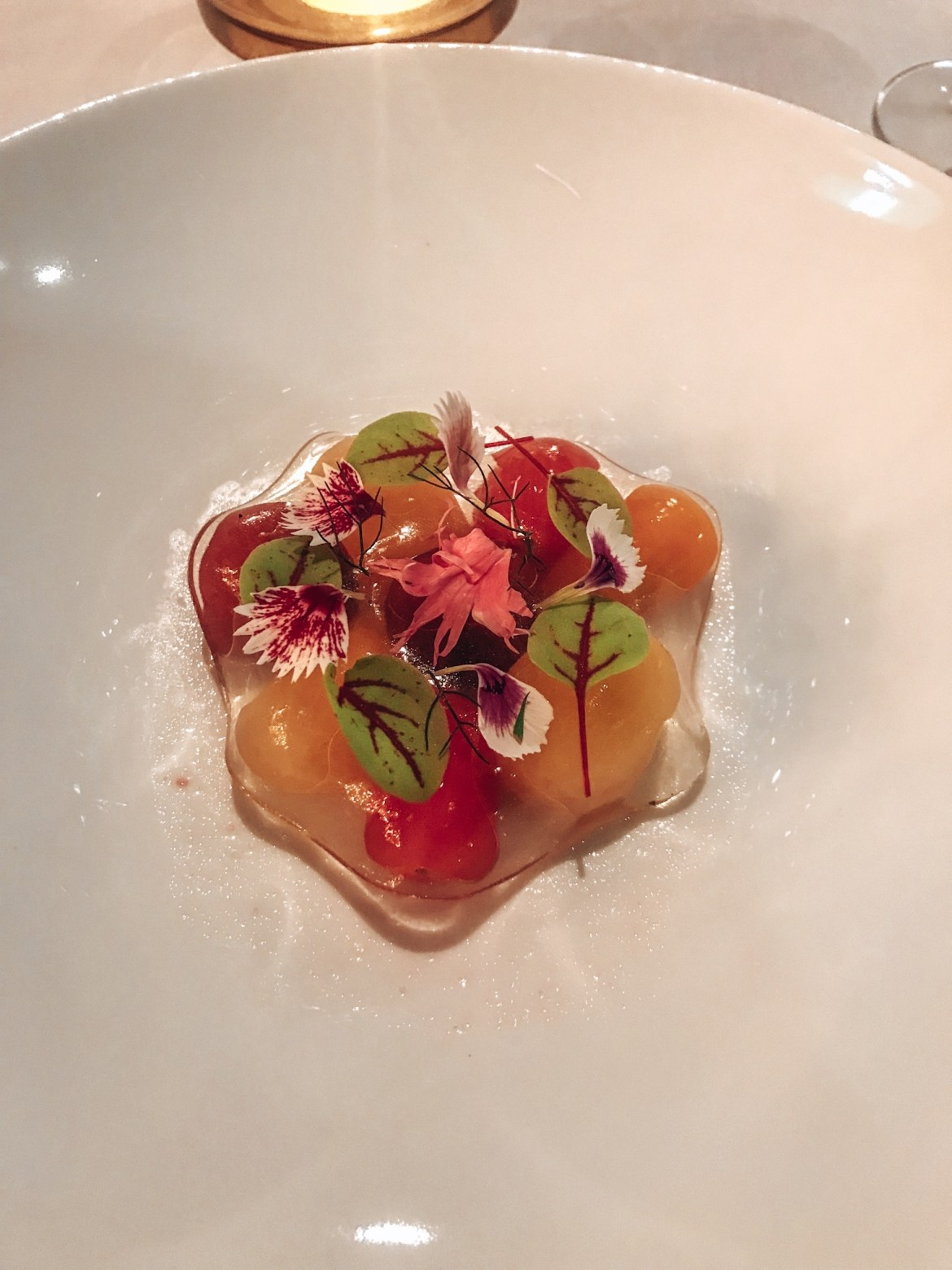 Plate of tomatoes and flowers coated in jelly