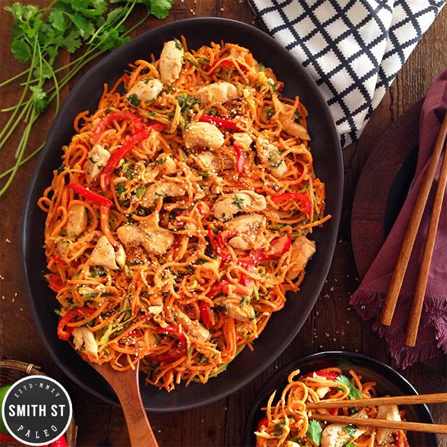 Paleo recipe for honey sesame chicken noodles