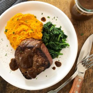 Beef Fillet with Steak Sauce, Sweet Potato & Spinach