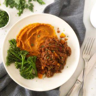 Beef Ragu with Sweet Potato Mash & Broccoli