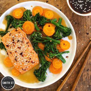 Teriyaki Salmon with Steamed Carrots & Broccoli