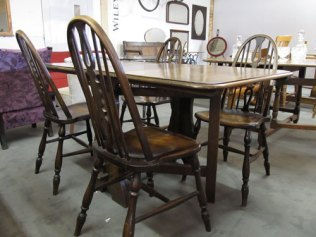 "Oak drop leaf table with 4 Ercol style chairs 56""x 32"" £180"