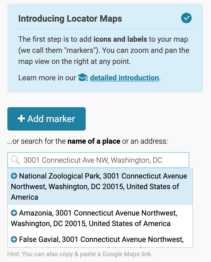 address search in datawrapper