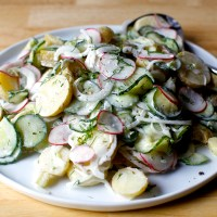 dilled potato and pickled cucumber salad